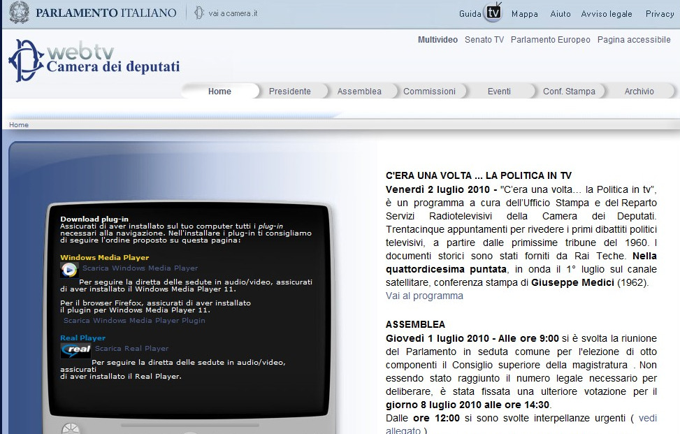 Vedere le sedute del parlamento in diretta streaming parte for Streaming parlamento